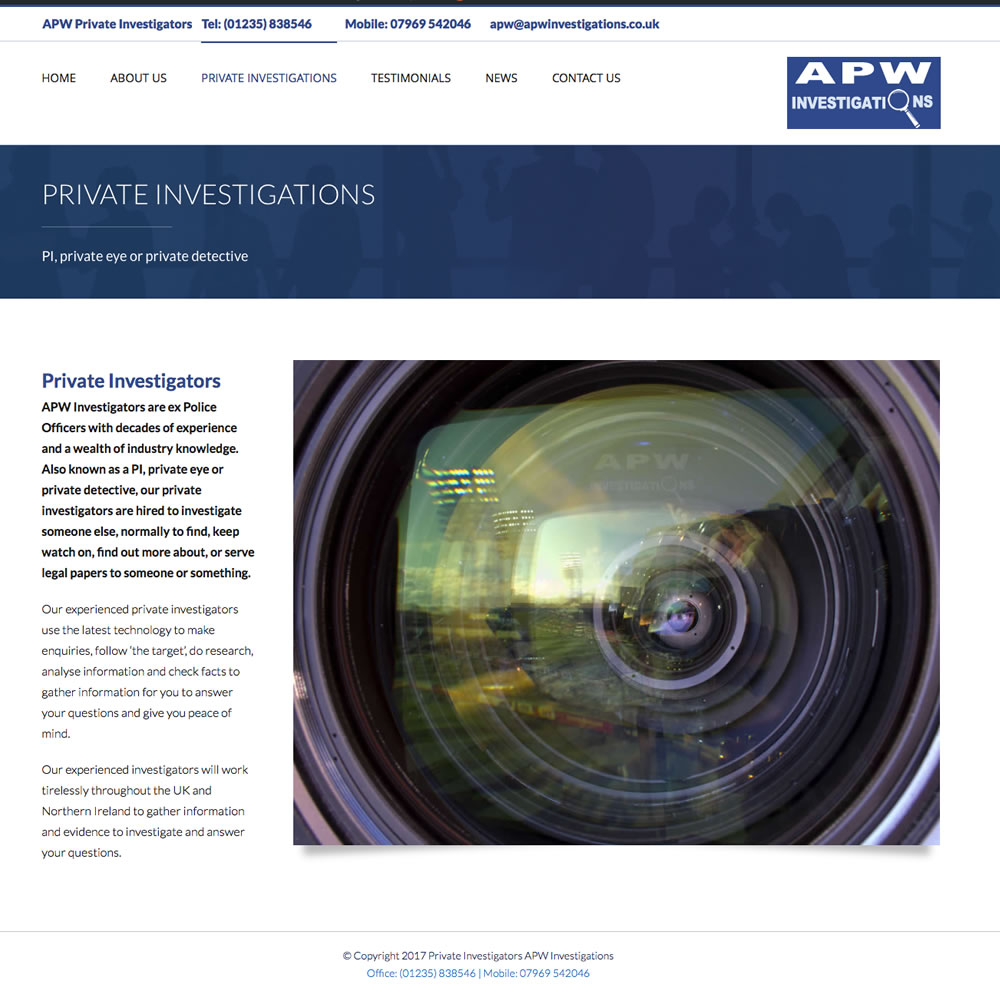 Web Design and Development for APW Investigations