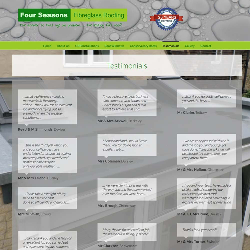 Web Design and Development for four seasons roofing