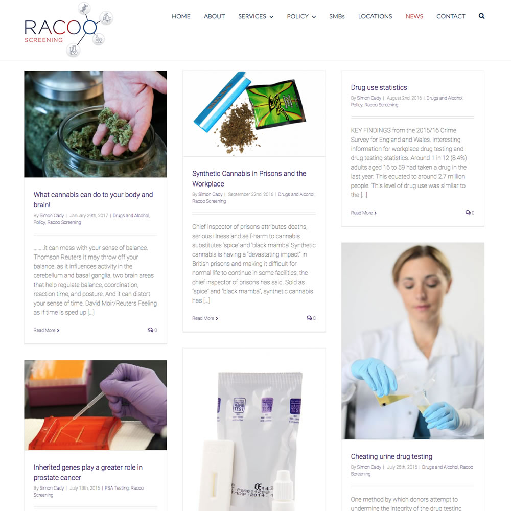 Web Design and Development for RACOO Alcohol and DrugTesting