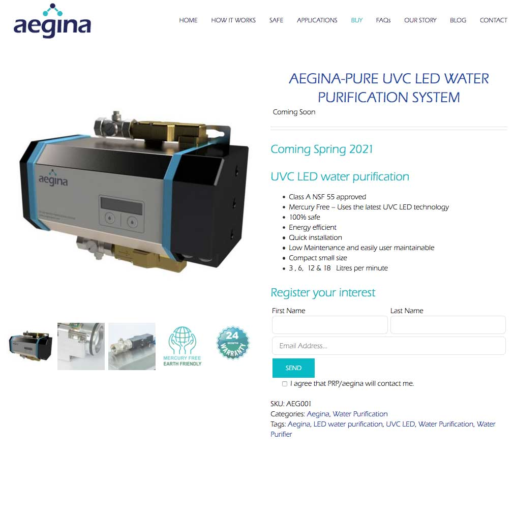 Product page of Website built for client in Swindon