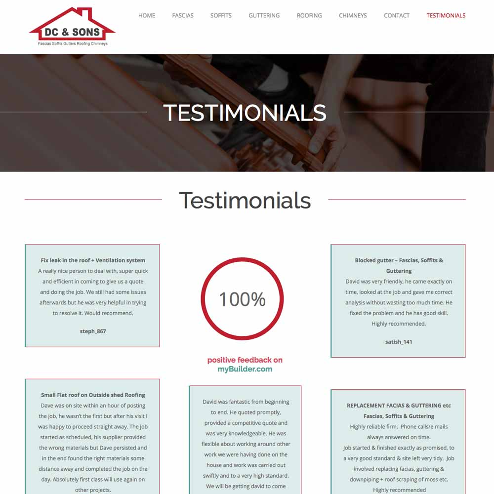 DC and sons roofers testimonials