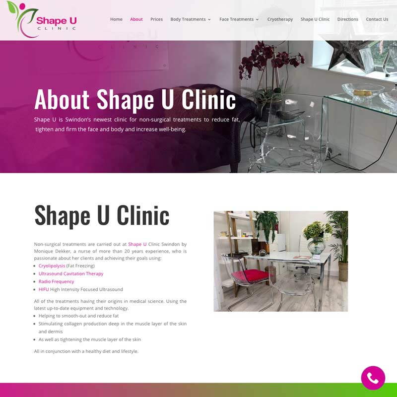 Web design for Shape U clinic Swindon